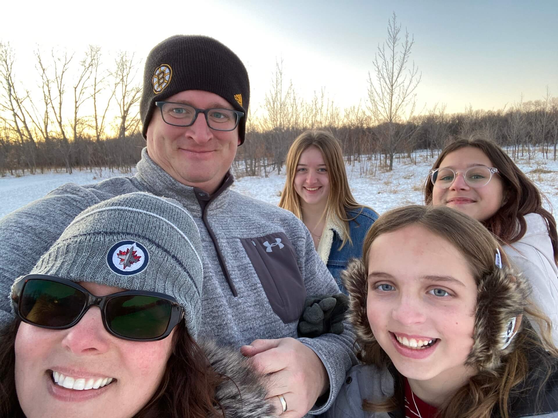 A selfie taken at a dog park in Winnipeg